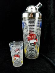 Vtg  Midcentury Modern Rooster Cocktail Shaker & Printed Glass with Chrome Lid