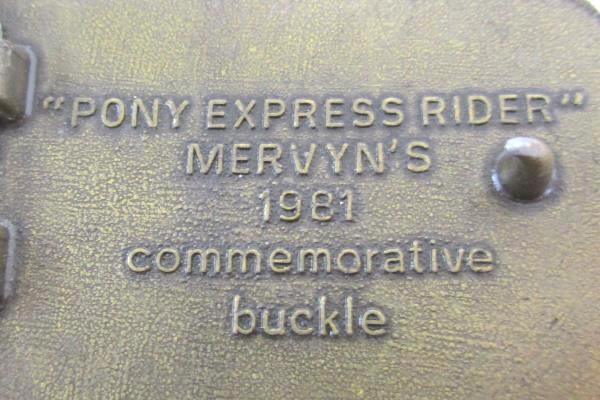 Vintage 1981 Commemorative Belt Buckle Mervyn's Pony Express Rider