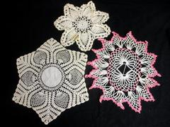 Lot of 3 Vintage Hand Crocheted Doilies Floral Shape Medium White Pink