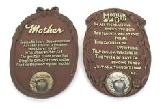 "Lot of 2 ""Tiny's Cashmere, Wash"" Mother and Mother and Dad Wall Plaques"