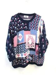 Vintage Gitano Tight Knit Quilt Sweater Acrylic Blue Pink White Women's Size XL