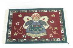 Christmas Gingerbread Angel Runner Rug Holiday Hallway Kitchen Green Red 23X36