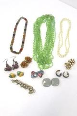 Costume Jewelry Lot of 3 Necklaces 1 bracelet and 7 Pairs of Earrings Vintage