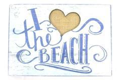 "Han Art I Heart The Beach Wall Art Sign Blue Canvas Heart 7"" x 10"" BPA Free"