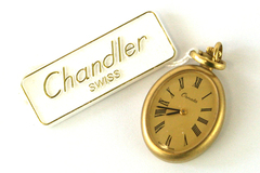 Chandler 17 Jewel Open Face Watch Pendant Gold Overlay Floral Vine Engraved Back
