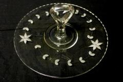 "Unmarked Serving Platter Handled Etched Floral Clear Glass 10"" Diameter"