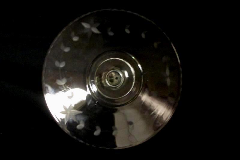 "Unmarked Serving Platter Handled Etched Floral Clear Glass 10"" Diameter"