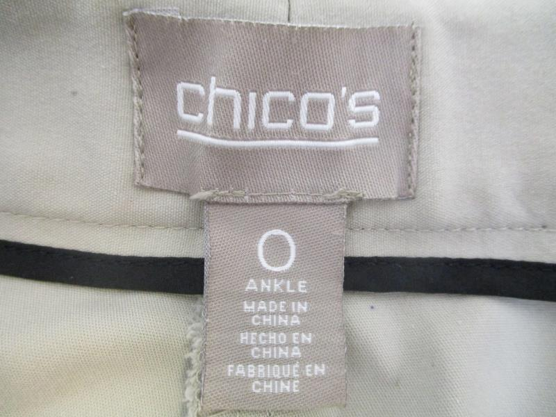 Chicos Women's Ankle Dress Pants Skinny Tapered Leg Beige Tan Size 0