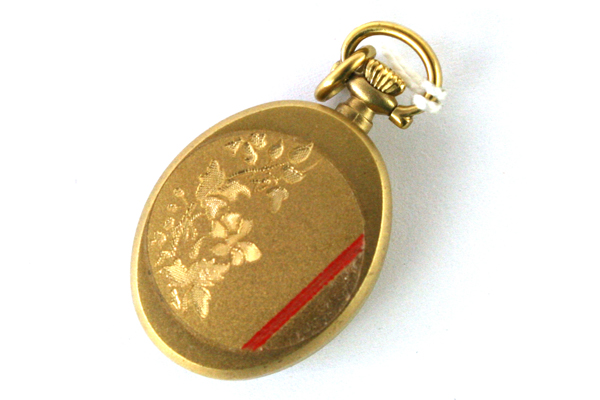 Chandler 17 Jewel Open Face Watch Pendant Gold Overlay Floral Vine Engraved Back