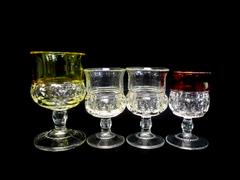 Lot of 4 Vintage Indiana Glass Thumbprint Liqueur Sherry Cordials Glasses Colors