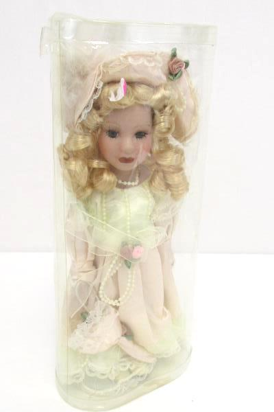 """12"""" Porcelain Doll In Package Stand Blonde Curly Hair Pink White Dress Pearls"""
