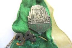 Antique High School Pins And Green Yellow Ribbon Dated 1934