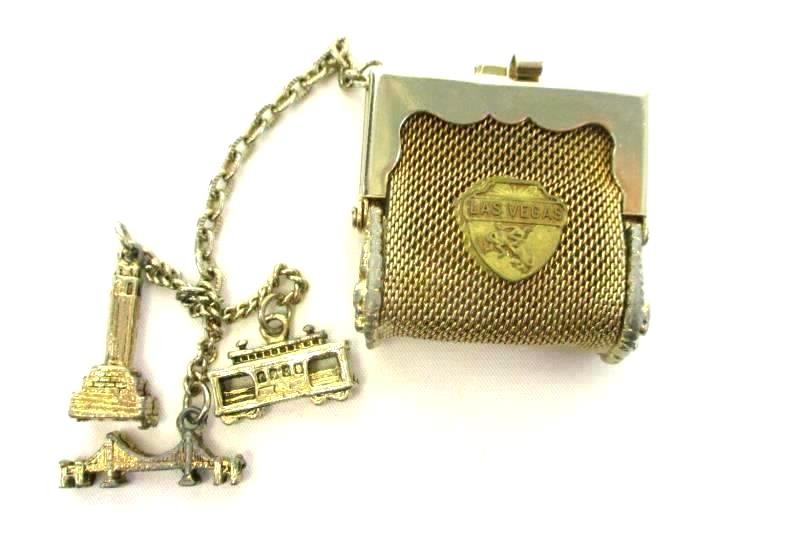 Vintage 1960's Las Vegas Metal Mesh Coin Purse With Charms
