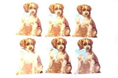Lot of 6 Winslow Paper Standing Cut Out Puppy Dog Decoration 1989 Decor Blue Bow