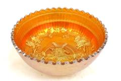 Vintage Imperial Carnival Glass Bowl Windmill Marigold Pattern 7in