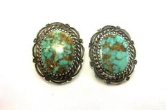 Turquoise and Silver Tone Clip on Earrings Signed Billie Eagle