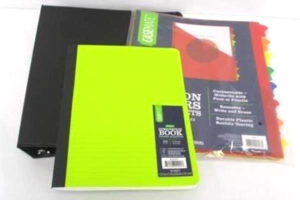 Back To School Supply Lot 1 Inch Case Mate Binder Composition Book Dividers