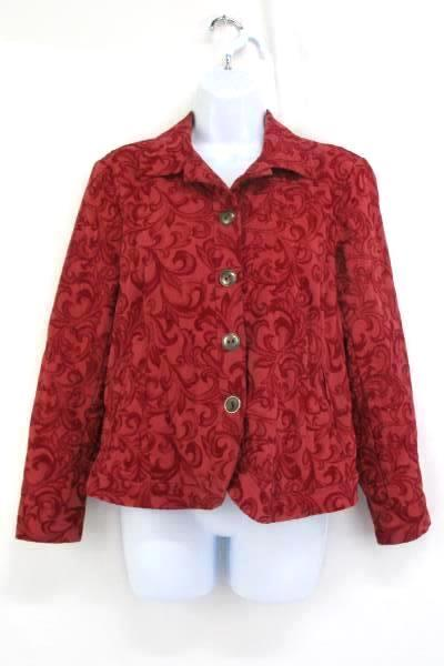 Coldwater Creek Paisley Red Four Button Jacket Women's Size PS Petite Small