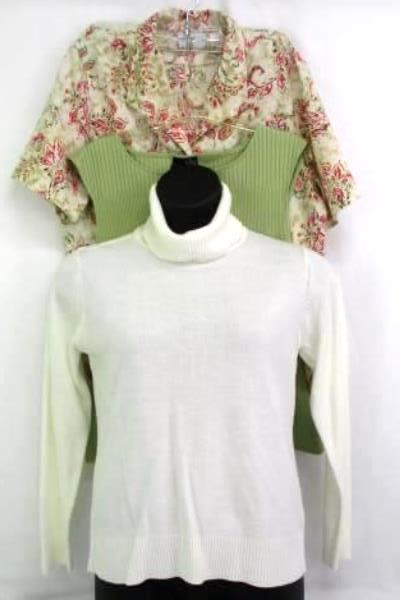 Lot of 3 Women's Shirts: Knit Turtleneck Floral Button Up Green Knit Tank Sz XL