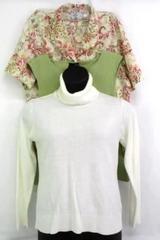 Lot of 3 Women's Shirts: Knit Turtleneck Floral Button Up Green Knit Tank Sz XL