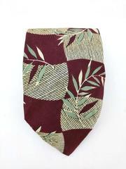 Polo Ralph Lauren 100% Silk Necktie Burgundy Ivory Abstract Check Leaf Print