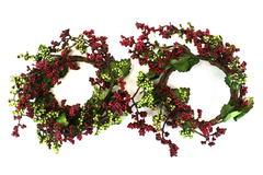 Set of 2 Handmade Decorative Wreaths with Pink and Green Berries