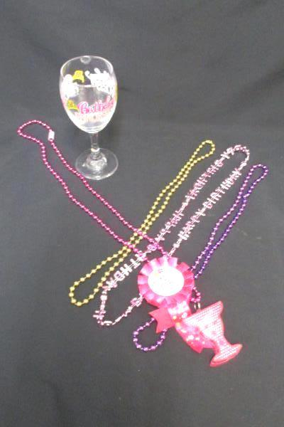 Women's Birthday Lot Wine Princess Glass Light Up Necklace 3 Beaded Necklace Pin