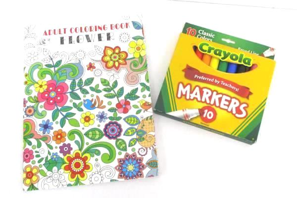 Adult Coloring Book Lot Flower by Vision St Crayola Classic Colors Markers