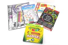 Kids Coloring Lot Felt Color Pages Construction Paper Markers Stickers Crafts