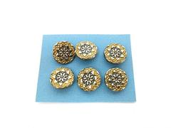 Lot of 6 Vintage Glass Buttons 1/2in Metallic Coated with Brass Shank Floral