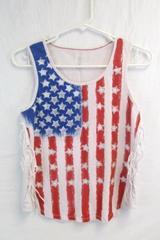 Girl's Star Logo American Flag Tank Top Fringe Glitter Stars Size XL 14/16 USA