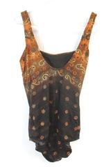 Vintage Inches Away 1 Piece Swimsuit Brown Orange Floral Paisley Size 20W