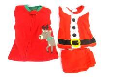 Lot 2 Christmas Pajamas Santa Set Footed Pajamas Wondershop Carters Kids Sz 18Mo