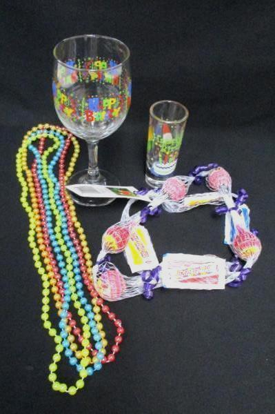 21st Birthday Lot Wine Glass Shot Glass Candy Lei 4 Beaded Necklaces