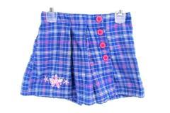 Girls Barbie Skort Shorts Skirt Overlay Blue Pink Plaid Buttons Size XS 4/5