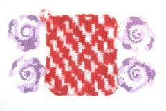 Lot of 4 Crochet Flower Coasters and 1 Pot Holder Handmade Purple Red White Yarn