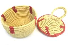 Vintage Tribal Hand Woven Coiled Small Basket With Lid Natural Red