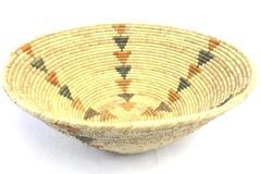 Vintage Tribal Woven Grass Large Basket Triangle Design 17 Inch Diameter Natural