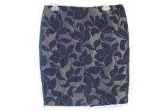 Ann Taylor Factory Grey Blue Pencil Skirt Textured Flower Women's Size 10 Petite