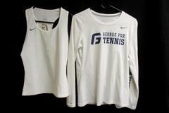 Lot of 2 George Fox University Tennis Tops White Nike Dri Fit Women's Size M