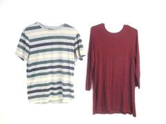 Lot of 2 Women's Tops Size Medium Old Navy Luxe Mossimo Striped T Shirt Long
