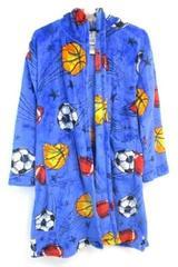 Komar Kids Fleece Sports Ball Robe Flame Resistant Blue Children's Size L 14/16