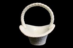 White Ceramic Flower or Fruit Display Basket Signed Don Handle 9in Tall