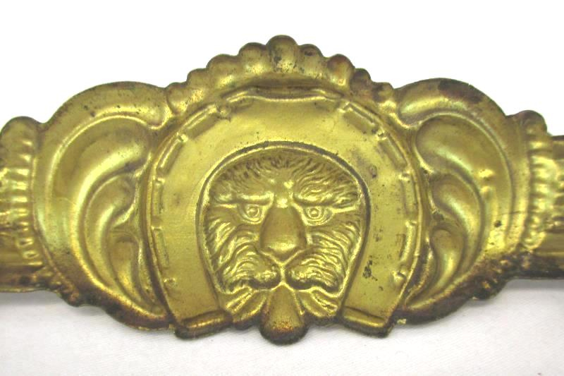 Set of 3 Vintage Salvage Stamped Brass Drawer Pulls Lion Face Horseshoe