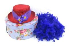 Red Hat Society Women's Red Straw Hat With Purple Flowers Netting Band Hat Box
