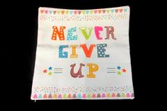 Your Smile Decorative Throw Pillow Cover Never Give Up Canvas Fabric Zip Closure
