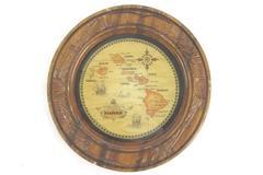 "Made In Hawaii Association Wood Plate Trinket Tray 5.75"""