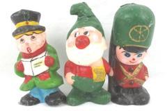 Lot of 3 Vintage Interpur Christmas Candle Wax Figures Elf Caroler Soldier