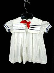 Vtg 70s-80s SEARS Baby Sailor Dress White with Navy Trim & Red Bow Infant Large