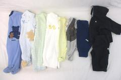 Lot of 9 Baby Boy's Tops Bottom Pajamas Size 0-3M Carters Old Navy Child of Mine